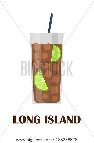 long island cocktail vector illustration.