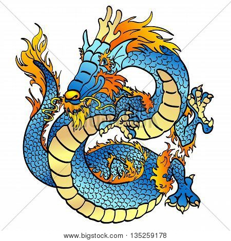 Cheerful blue water asian chinese dragon on white background