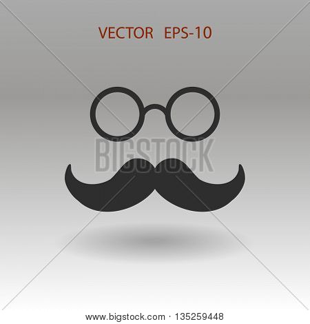 Flat shadow Hipster retro style mustache and eyeglasses icon