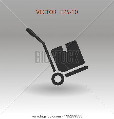 Flat shadow Hand truck icon, vector illustration