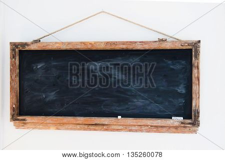 chalk board background texture with old vintage wooden frame, blackboard concept.empty education backdrop:use for work about backgrounds, design, banner, template, decorate, business, education