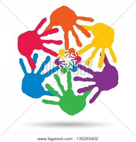 Vector concept or conceptual circle or spiral set made of colorful painted human hands isolated on white background