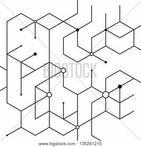 Geometric lines and dots. Line pattern. Modern cube background. Cell abstraction. Connection vector illustration for print and web design. Network black pattern. Organic concept.