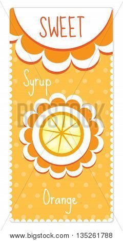 Sweet fruit labels for drinks syrup jam. Orange label. Vector illustration