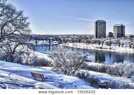 Winter In The City Of Saskatoon, Canada