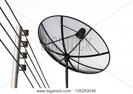 Satellite dish and cable communication technology network isolate on white background.