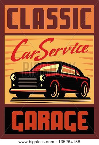color vector illustration of retro car poster