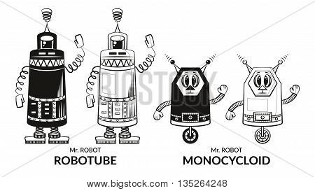 Set of Cute Different Cartoon Robots, Black Contour and Silhouette Characters, Elements for your Design, Prints and Banners, Isolated on White Background. Vector
