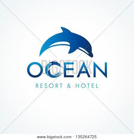 Ocean dolphin resort & hotel logo. Logo of tourism, resort or hotel by the sea, vector ocean waves symbol and jump dolphin