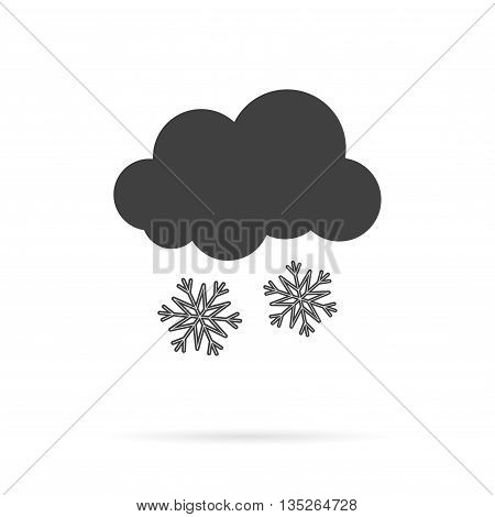 Vector Cloud and Snow Grey Icon over white