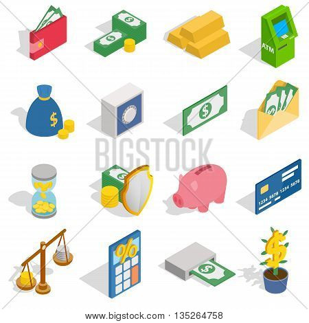 Money Icons set in isometric 3d style isolated on white background