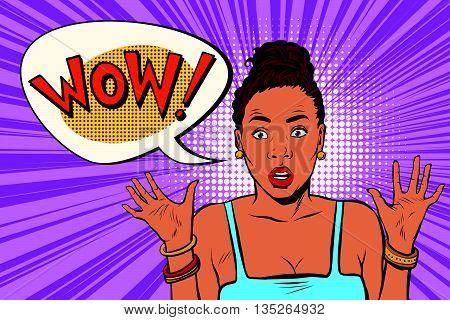 Wow surprised beautiful woman, African American black people pop art retro vector. Emotional beautiful girl