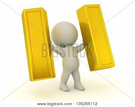 3D character holding up two large gold bars. Isolated on white background.