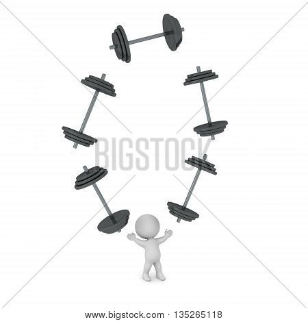 3D character is juggling large dumbbell weights. Isolated on white background.
