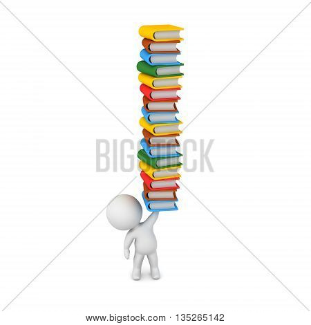 Small 3D character holding up a stack of colorful books. Isolated on white background.