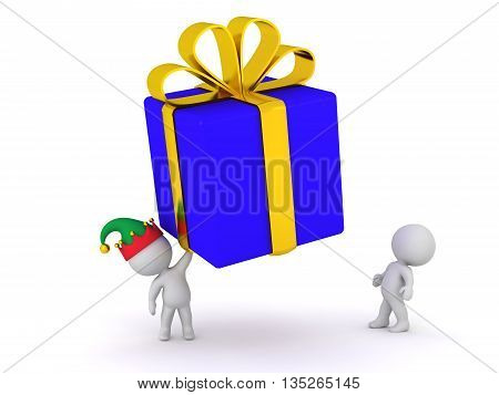 3D character holding up a large wrapped gift box. Isolated on white background.
