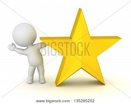 3D character waving from behind a golden star. Isolated on white background.