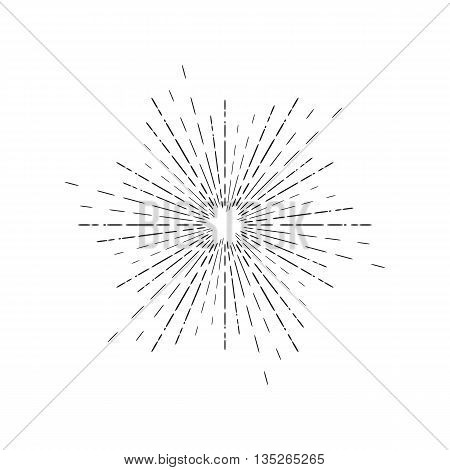Sun Rays Linear Drawing. Star Burst In Vintage Style And Hand Drawn Isolated
