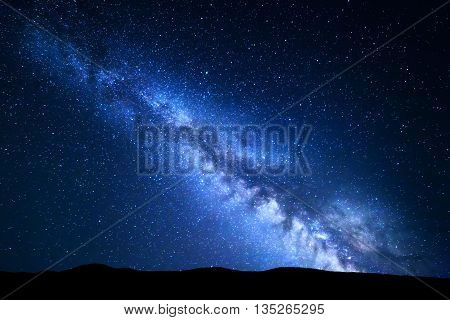Night Landscape With Milky Way. Starry Sky, Universe