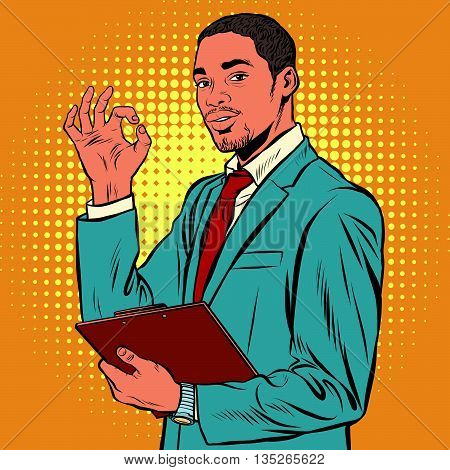 OK gesture black businessman pop art retro vector. Successful African-American. The quality is okay