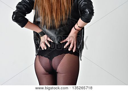 Beautiful Sexy Lady In Elegant Tights Isolated On A White Background. Fashion Portrait Of Model Indo