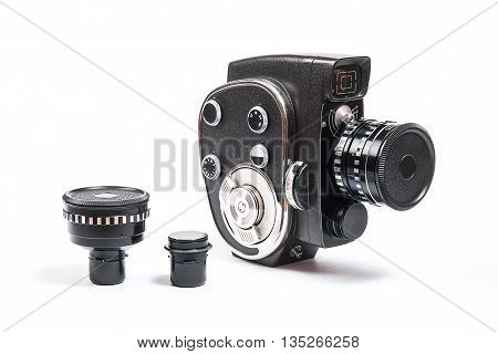 Vintage Movie Camera And Two Additional Lens Isolated On White
