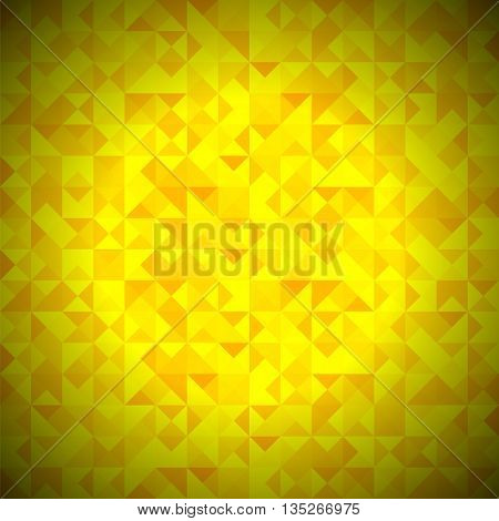 Yellow Background with Geometric Shapes, Triangles. Old Mosaic. Yellow-Mosaic-Banner. Geometric Hipster Yellow Pattern with Place for Your Text. Graphic Template Background