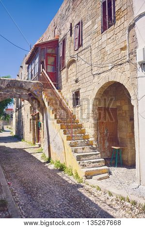 Photo of the antique old town  street, Rhodes island, Greece