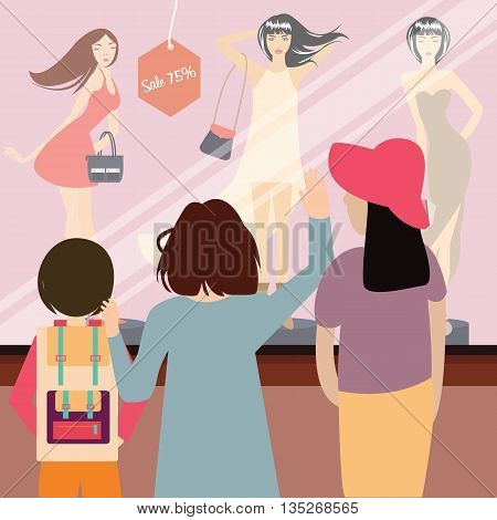 woman and kids standing in front of sale item fashion store vector