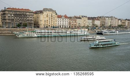 Budapest Hungary - April 10. 2016: River Danube in Budapest Hungary with riverbanks and ships