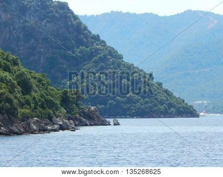 Mediterranean architecture in the Aegean Sea in Turkey, Marmaris
