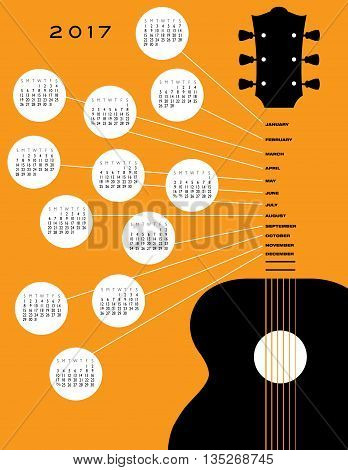 2017 Guitar calendar, ideal for gig calendar