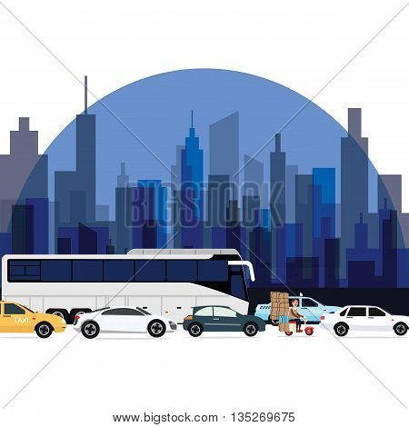 traffic jam around town cars bus and motorcycle lining with high rise building as background vector
