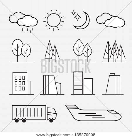 Urban line icons. Urban landscape linear signs eps10