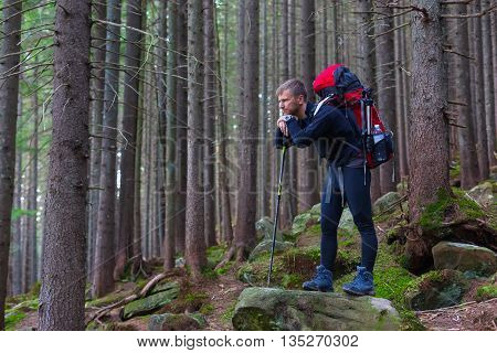 Man Outdoor Hiker Staying on Stone in Dense Forest Pensive Face with Backpack and Walking Poles