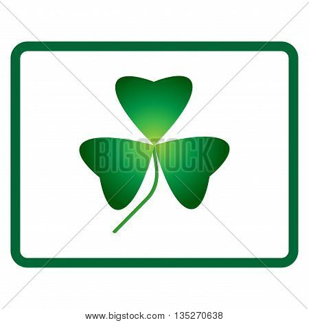 Sign clover. 3 leaf symbol. Holiday mark. Beauty design style. Green icon isolated on white background. Colorful element in frame. St Patric concept image. Logo for celebration. Vector illustration