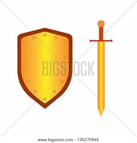 Set of sign shield and sword gold. Combat icon isolated on white background. Mark with volume effect. Symbol of a bronze elements. Logo for military and security. Stock vector illustration