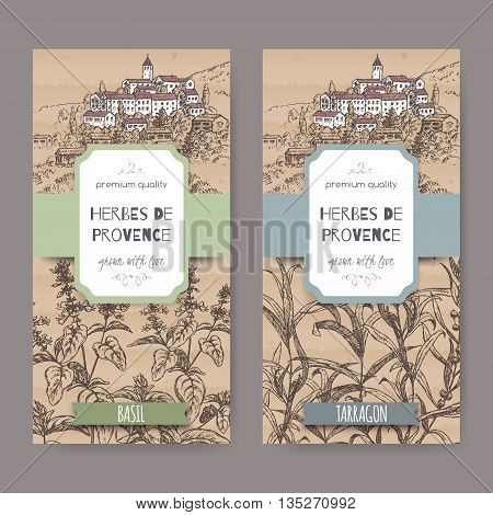 Two Herbes de Provence labels with Provence town landscape, basil and tarragon sketch on cardboard background. Culinary herbs collection. Great for cooking, medical, gardening design.