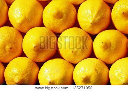 Lots of lemons on the farmer's market background