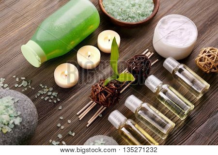 Spa treatment on wooden background