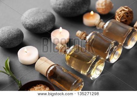 Beautiful spa composition on grey background