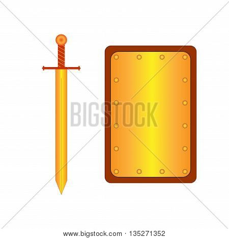 Set of sign rectangle shield and sword gold. Combat icon isolated on white background. Mark with volume effect. Symbol of a bronze elements. Logo for military and security. Stock vector illustration