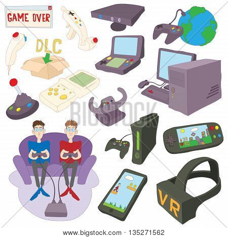 Games icons set in cartoon style isolated on white background