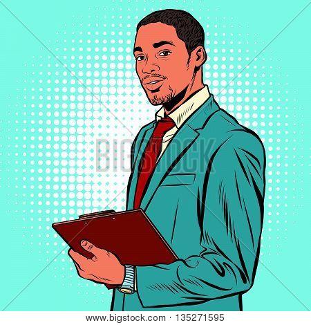 Black businessman with documents pop art retro vector.