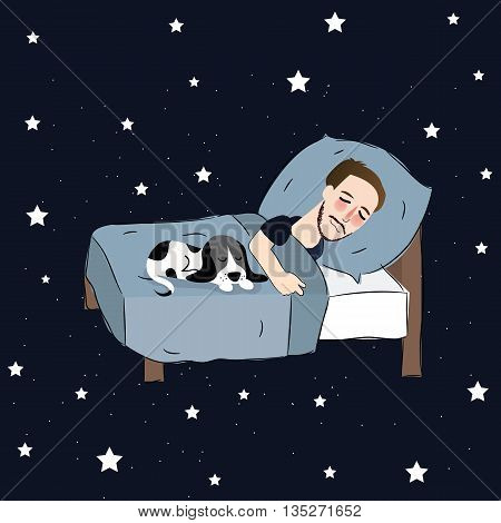 man sleeping in bed pillow together with puppies dreaming in blue stars vector