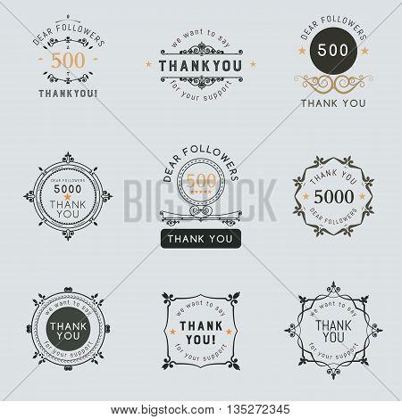 Set of vintage Thank you badges, labels stickers. Decorative frame of vector elements