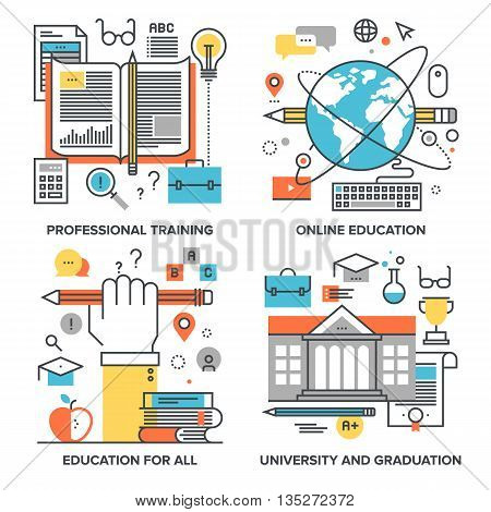 Vector set of conceptual flat line illustrations on following themes - professional training, online education, education for all, university and graduation