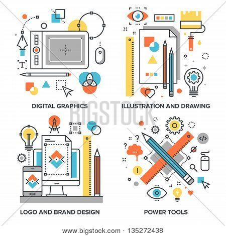 Vector set of conceptual flat line illustrations on following themes - digital graphics, illustration and drawing, logo and brand design, power tools