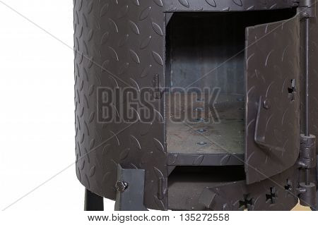 furnace of new metal stove on white background