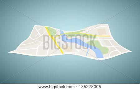Vector navigation map icon on blue background. Vector illustration